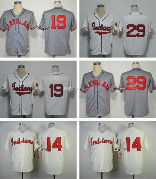 Men's New Cleveland Indians #19 #29 #14 Grey White Beige Throwback Baseball Jersey Top Quality Drop Shipping Accept Mixed Orders Hot Sa