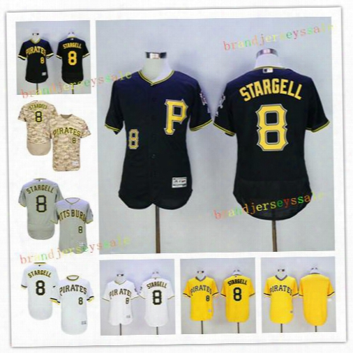 Men's Pittsburgh Pirates 8 Willie Stargell Baseball Jerseys 2016 Flexbase Jerseys Camo White Yellow Majestic Black Cool Base Player Jersey