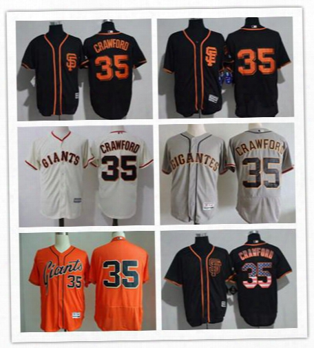 Men's San Francisco Giants #35 Crawford Black Sf Usa Flag Fashion Stitched Mlb Majestic Cool Base Grey Orange Color Jersey
