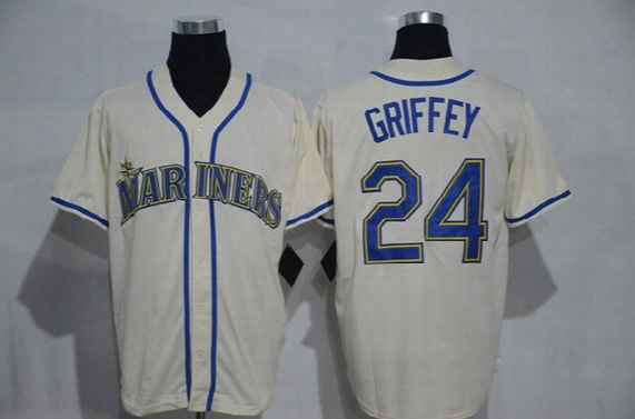 Men's Seattle Mariners #24 Ken Griffey Jr Majestic Cream 2016 Hall Of Fame Induction Cool Base Jersey Hot Sale Stitched Baseball Shirts