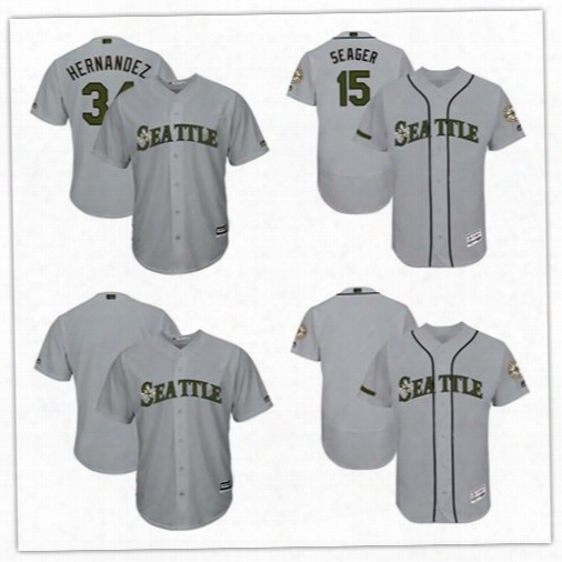 Men's Seattle Mariners Kyle Seager Felix Hernandez Grey 2017 Memorial Day Cool Base Flexbase Player Jersey Custom Any Name Any Number