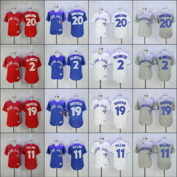 Men's Toronto Blue Jays 20 Josh Donaldson 2 Troy Tulowitzki #19 Jose Bautista Majestic Royal Alternate Cool Base Player Mlb Baseball Jerseys