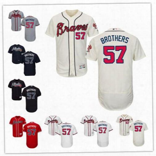 Men's Women Youth #57 Rex Brothers Jersey Atlanta Braves Baseball Jerseys Blue Ivory White Grey Red