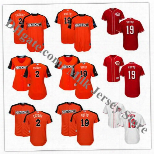 Men's Women Youth National League 2017 Mlb All-star Game #19 Joey Votto #2 Zack Cozart Jersey Cincinnati Reds Baseball Jerseys Orange