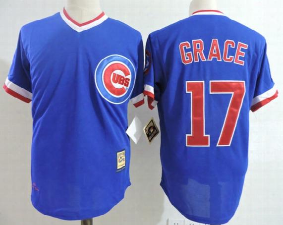 Mens 1989 Royal Blue Cheap Chicago Cubs Mark Grace Throwback Jersey Mark Grace Cubs 2017 White Gold Program Cool Base Baseball Jersey S-3xl