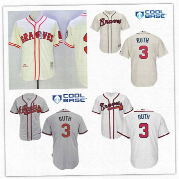 Mens Atlanta Braves #3 Babe Ruth 1935 Cream Cooperstown Jersey White #3 Babe Ruth Braves Cool Base Baseball Jersey S-3xl