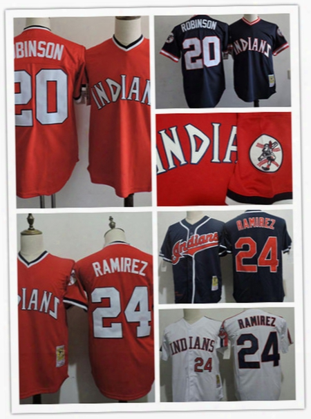Mens Cheap Cleveland Indians 24 Manny Ramirez Throwback Cooperstown Jersey Stitched 20 Frank Robinson Indians 1994 Cool Base Jersey S-3xl