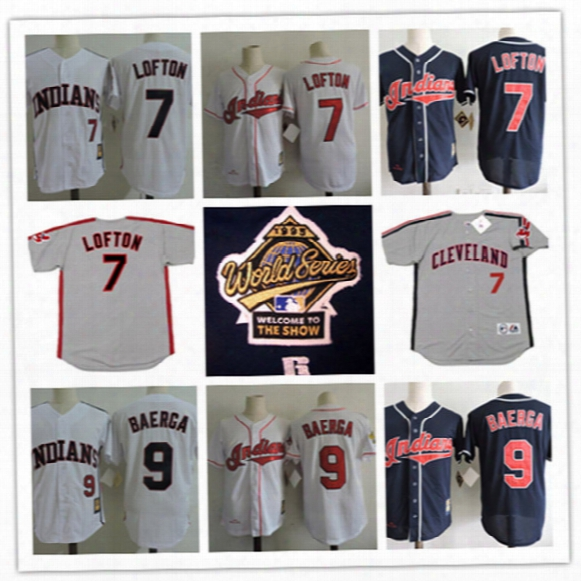 Mens Cheap Cleveland Indians 7 Kenny Lofton Throwback Cooperstown Jersey Stitched 9 Carlos Baerga Indians 1995 Cool Base World Series Jersey