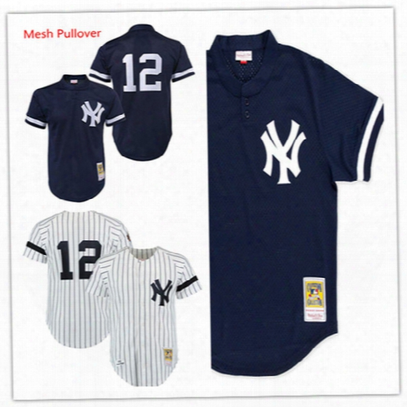 Mens Cheap New York Yankee Jersey #12 Wade Boggs White Throwback 1996 Jersey Stiched Wade Boggs Yankee 1995 Navy Mesh Bp Jersey