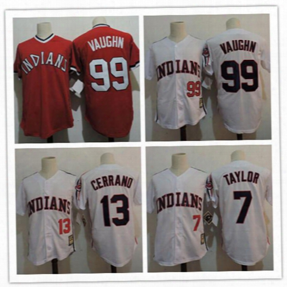 "Mens Cheap The ""major League"" Movie Baseball Jersey #99 Rick Vaughn ##13 Pedro Cerrano #7 Jake Taylor Cleveland Indians Cooperstown Jersey"