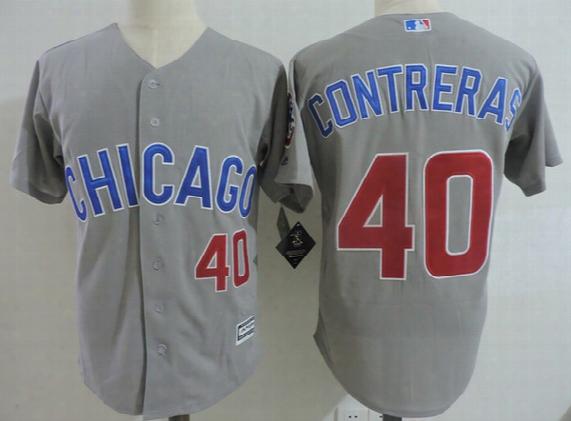 Mens Chicago Cubs Willson Contreras Flex Base Jersey #40 Willson Contreras Cubs 2017 White Gold Program Cool Base Baseball Jersey S-3xl