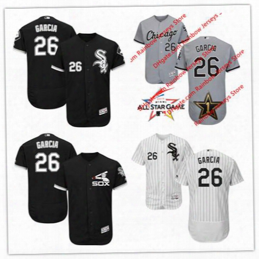 Mens Chicago White Sox 2017 All-star Game Worn Baseball Jerseys #26 Avisail Garcia Gray Black White Pinstripe Pullover Flex Cool Base S,4xl