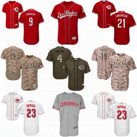 Mens Cincinnati Reds Jersey 6 Billy Hamilton 9 Jose Peraza 23 Adam Duvall 32 Jay Bruce 39 Devin Mesoraco Authentic Baseball Jerseys