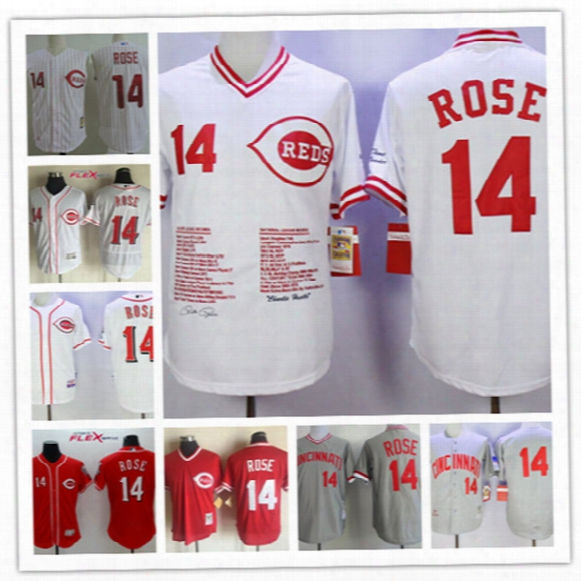 Mens Cincinnati Reds Pete Rose White Cool Base Vest Jerseys 1997 #14 Pete Rose Cinci Nnati Reds Throwback Cooperstown Baseball Jersey S-3xl