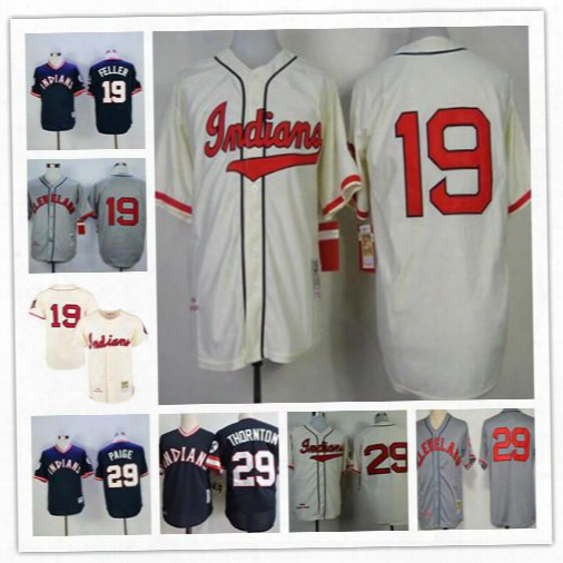 Mens Cleveland Indians 19 Bob Feller Cream 1948 Hemp Gray Road 29 Satchel Paige 1977 29 Andre Thornton Navy Blue Embroidered Retro Jerseys