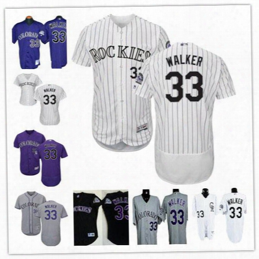 Mens Colorado Rockies 33 Larry Walker Purple White Pinstripe 1997 Black Mesh Bp Gray Embroidered Throwback Collection Baseball Jerseys