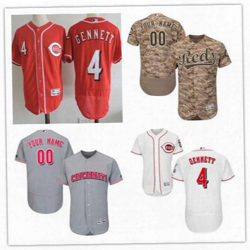 Mens Flex Base Cincinnati Reds #4 Scooter Gennett Gray Road White Home Red Camo Game Worn Sewn On Stitched Baseball Jerseys S,4xl