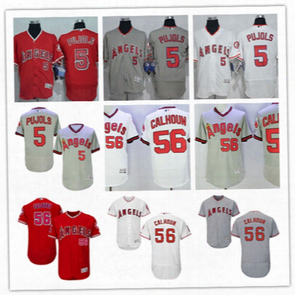 Mens Los Angeles Angels Of Anaheim 5 Albert Pujols Flex Base Jersey Stitched 56 Kole Calhoun Angels Of Anaheim Baseball Jerseys S-3xl
