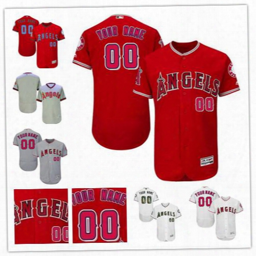 Mens Los Angeles Angels Of Anaheim Flex Base Customized Gray Pullover Red White Father Day Any Name Any Number Stitched Baseball Jerseys