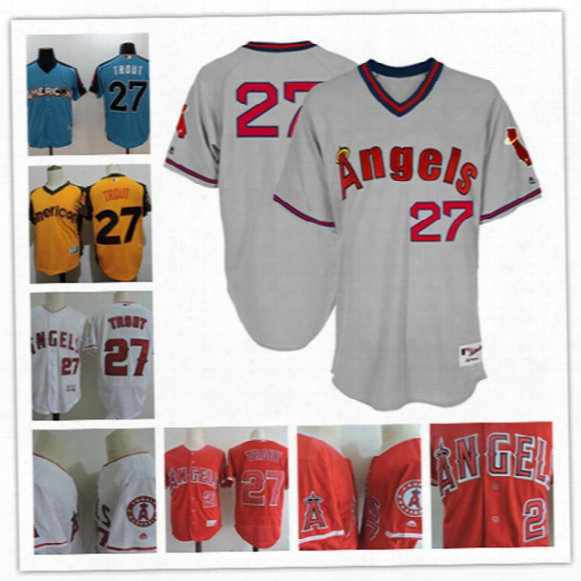 Mens Los Angeles Angels Of Anaheim Mike Trout 2017 Mlb All-star Game Home Run Derby Jersey #27 Mike Trout Flex Base Baseball Jersey S-3xl
