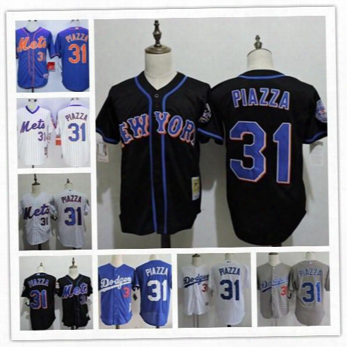Mens Mike Piazza Vintage Jersey New York Mets #31 Black Throwback 2016 Hall Of Fame La Dodgers Stitched Blue White Gray Mesh Bp