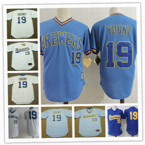 Mens Milwaukee Brewers Robin Yount Pullover Cooperstown Jerseys Stiched #19 Robin Yount Brewers Throwback Vintage Baseball Jersey S-3xl