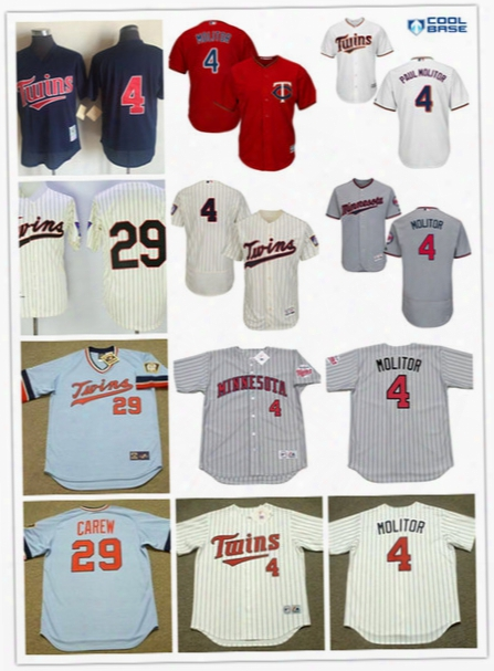 Mens Minnesota Twins Paul Molitor Baseball Jersey Stitched #29 Rod Carew Minnesota Twins Pullover Throwback Cooperstown Jerseys S-3xl