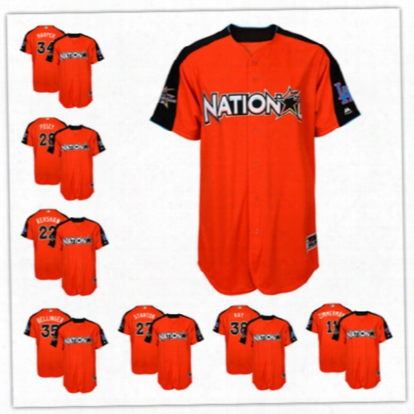 Mens Natoinal League Buster Posey Bryce Harper Clayton Kershaw Zack Greinke Orange 2017 Mlb All-star Game Home Run Derby Player Jersey S-3xl
