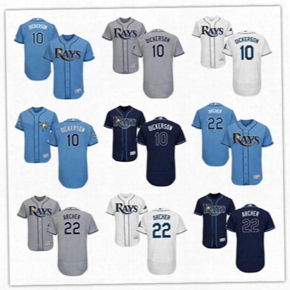 Mens Navy White Tampa Bay Rays Corey Dickerson Flex Base Jerseys Stiched #22 Chris Archer Tampa Bay Rays Cool Base Baseball Jersey S-3xl
