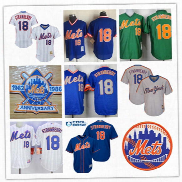 Mens New York Mets Darryl Strawberry Royal Cooperstown Mesh Jersey #18 Darryl Strawberry Mets 1986 World Series Cool Base Baseball Jersey