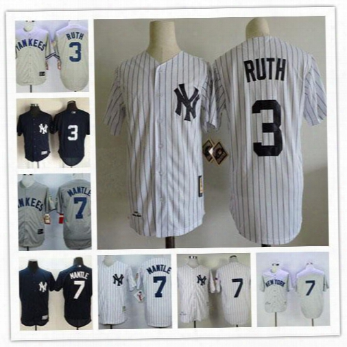 Mens New York Yankees 3 Babe Ruth 7 Mickey Mantle Gray White Navy Blue 1951 1929 75th Patch Retro Embroidered Baseball Jerseys