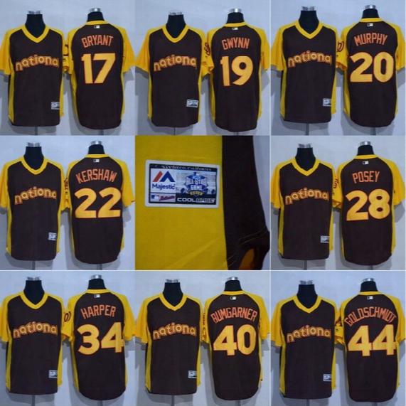 Mens S-4xl National League World Chris Bryant Daniel Murphy Buster Posey Jake Arrieta Bryce Harper 2016 All Star Baseball Jerseys