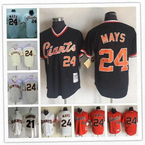 Mens San Francisco Giants 24 Willie Mays Vintage Jersey 1954 Cream White Gray Black Orange Pullover Throwback Deion Sanders Stitched Jerseys
