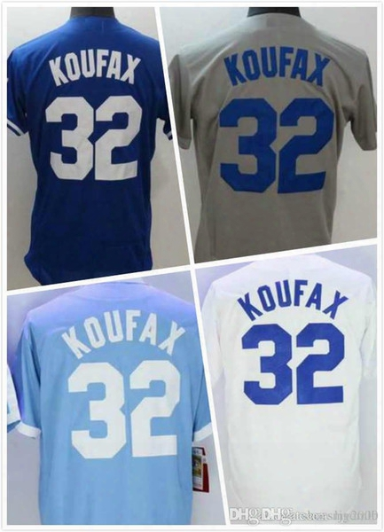Mens Sandy Koufax Jersey 32 New La Baseball Jerseys 100% Stitched 2016 Throwback Embroidery Logo Blue Grey White Size S-3xl Free Shipping