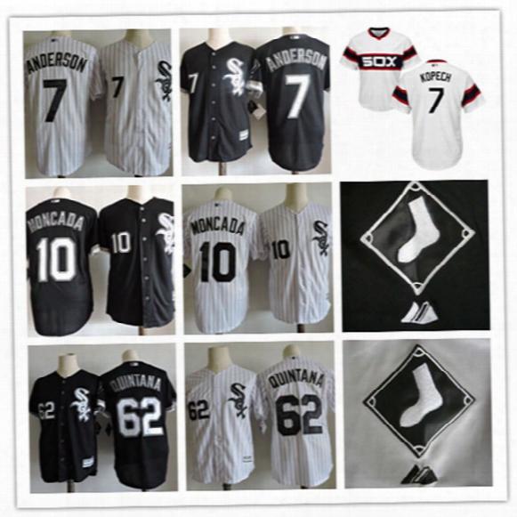 Mens Stiched Chicago White Sox #10 Yoan Moncada Jersey Gray Black #62 Jose Quintana #7 Tim Anderson Cool Base Baseball Jersey S-3xl