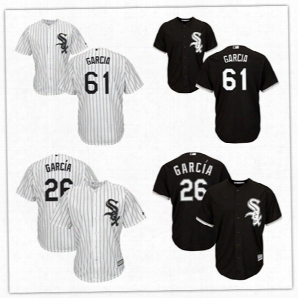 Mens Stiched Chicago White Sox Avisail Garcia Jerseys Gray Black #61 Willy Garcia Cool Base Baseball Jersey S-3xl