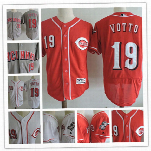 Mens Stitched Cincinnati Reds Joey Votto Home White Flex Base Jerseys Road Gray #19 Joey Votto Cincinnati Reds Baseball Jersey S-3xl