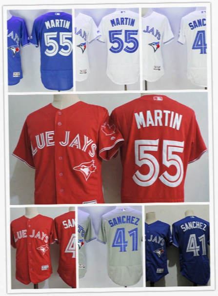 Mens Toronto Blue Jays 41 Aaron Sanchez 2017 New Scarlet Flex Base Jerseys White 55 Russell Martin Blue Jays Cool Base Baseball Jersey S-3xl