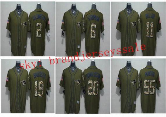 Mens Toronto Blue Jays Baseball Jerseys #6 Marcus Stroman#20#2 Troy Tuloowitz#19 Jose Bautista#11#55 Army Green Camo Version 100% Stitched L