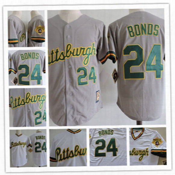 Mens White/green Pullover #2 Barry Bonds Pittsburgh Pirates Baseball Jersey Stitched Grey/green Button Barry Bonds Fashionable Jersey S-3xl