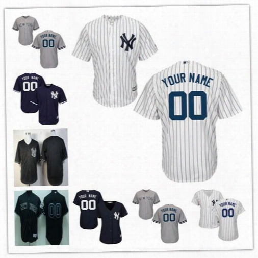 Mens Womens Youth New York Yankees Custom Gray Navy White Black Fashion Sewn On Any Name Any Number Cool Base Baseball Jerseys S-4xl
