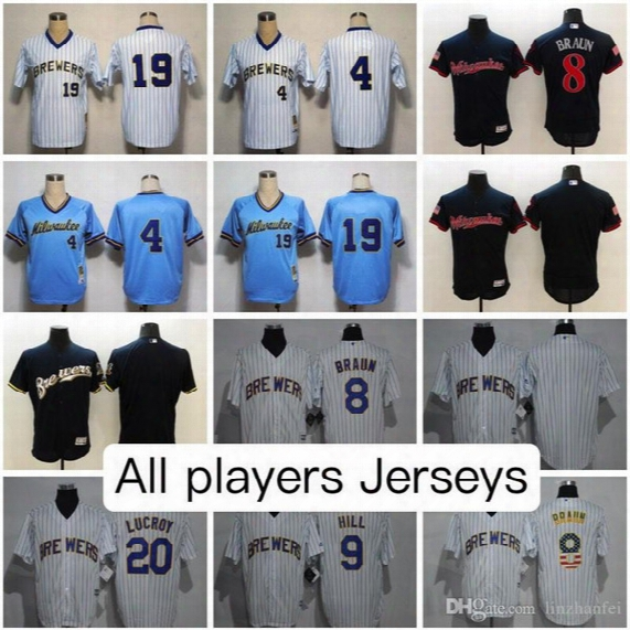 Milwaukee Brewers All Colors Jerseys Eric Thames Ryan Braun Lucky Yount Molitor Lewis Brinson Keon Broxton Ryan Cordell And More Jersey