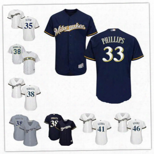 Milwaukee Brewers Jerseys Stitched Womens Youth White Navy 33 Brett Phillips 35 Brent Suter 38 Wily Peralta 41 Junior Guerra  46 Corey Knebel