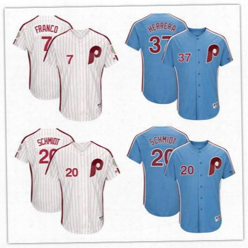 Mlb Men's Philadelphia Phillies 7 Maikel Franco 20 Mike Schmidt 37 Odubel Herrera Light Blue 1982 White 1983 Turn Back Jerseys Size S-6xl