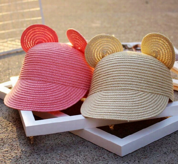 Mouse Ear Straw Hat Straw Baseball Caps For Children 5 Colors Free Shipping