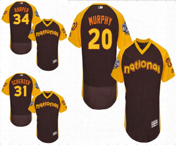 National League 31 Scherzer 34 Harper 20 Murphy Majestic Brown/yellow 2016 Mlb All-star Washington Nationals Game Batting Practice Jersey