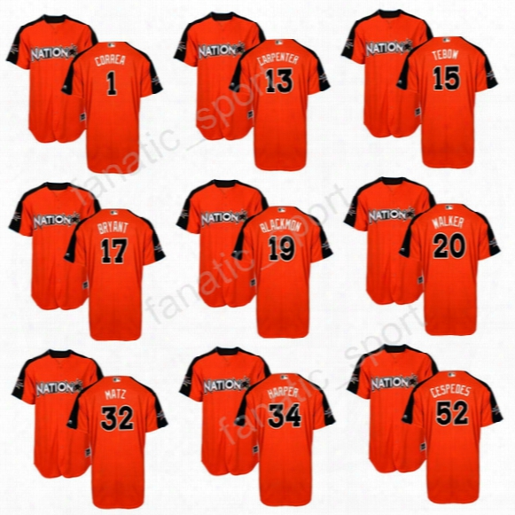 National League Orange 2017 Mlb All-star Jerseys Baseball 13 Matt Carpenter 15 Randal Grichuk 16 Kolten Wong 1 Carlos Correa 18 Carlos Marti