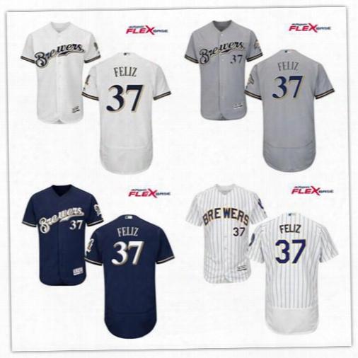 Neftali Feliz Baseball Jerseys Men's Milwaukee Brewers #37 Neftali Feliz Gray Road Stitched Mlb Majestic Flex Base Jersey Free Shipping
