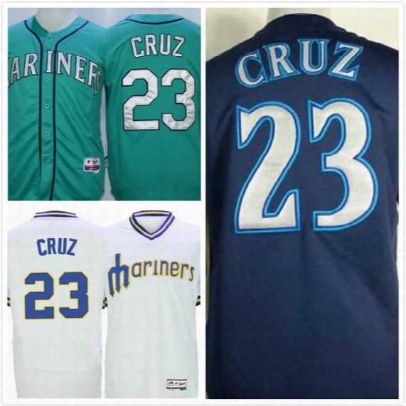Nelson Cruz Jersey #23 Mens Mariners Baseball Jersey Thrpback Full Stitched Embroidery Logo Green Blue White Size S-3xl Free Shipping