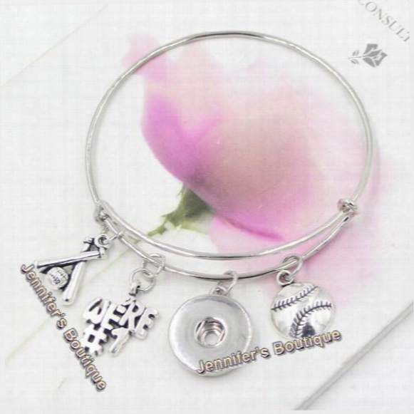 New Arrival Fashion Diy Interchangeable Snap Jewelry Style Sport Baseball Charms Bracelet Expandable Wire Snap Bangle For Women Sport Fans